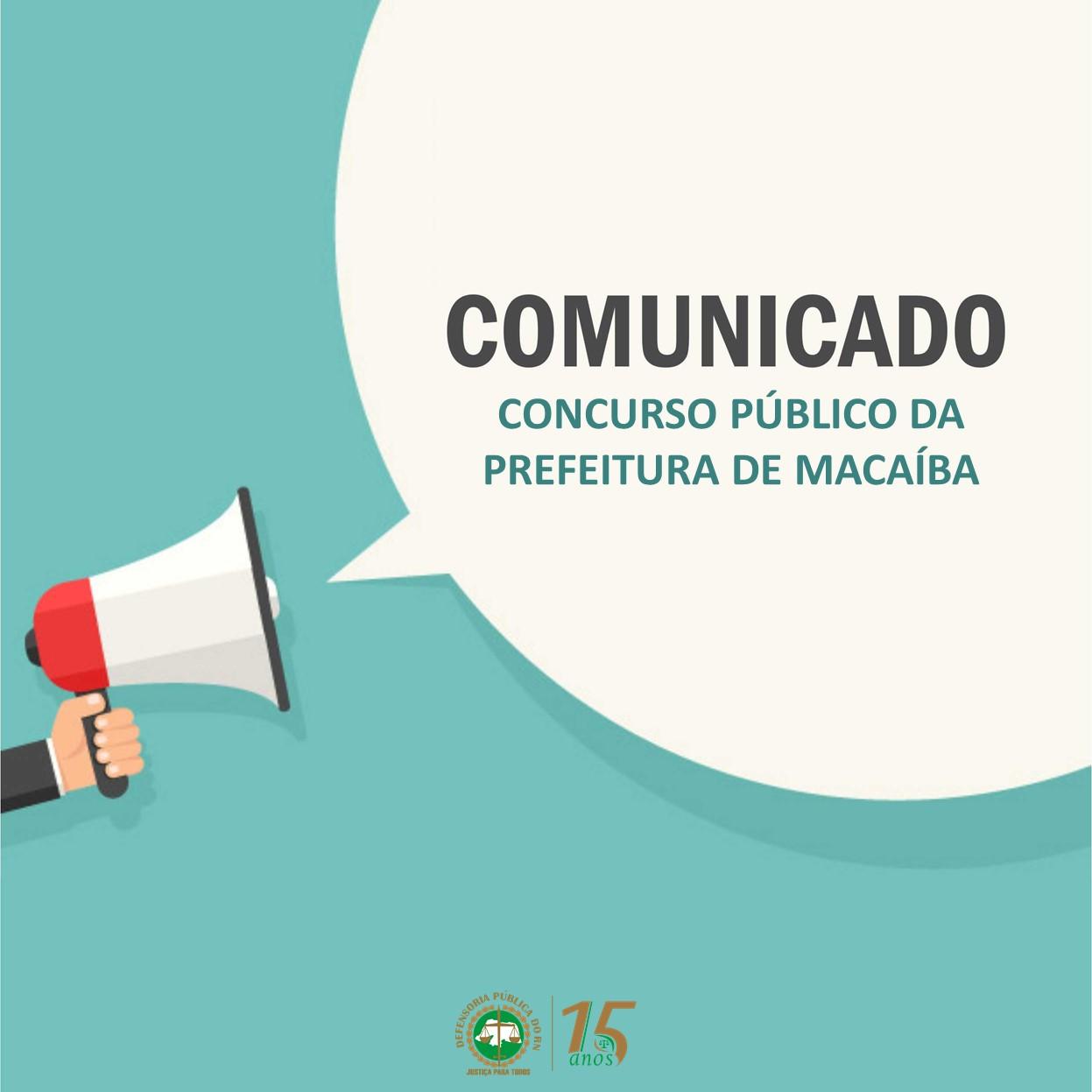 Defensoria Pública emite comunicado e convoca audiência sobre concurso de Macaíba